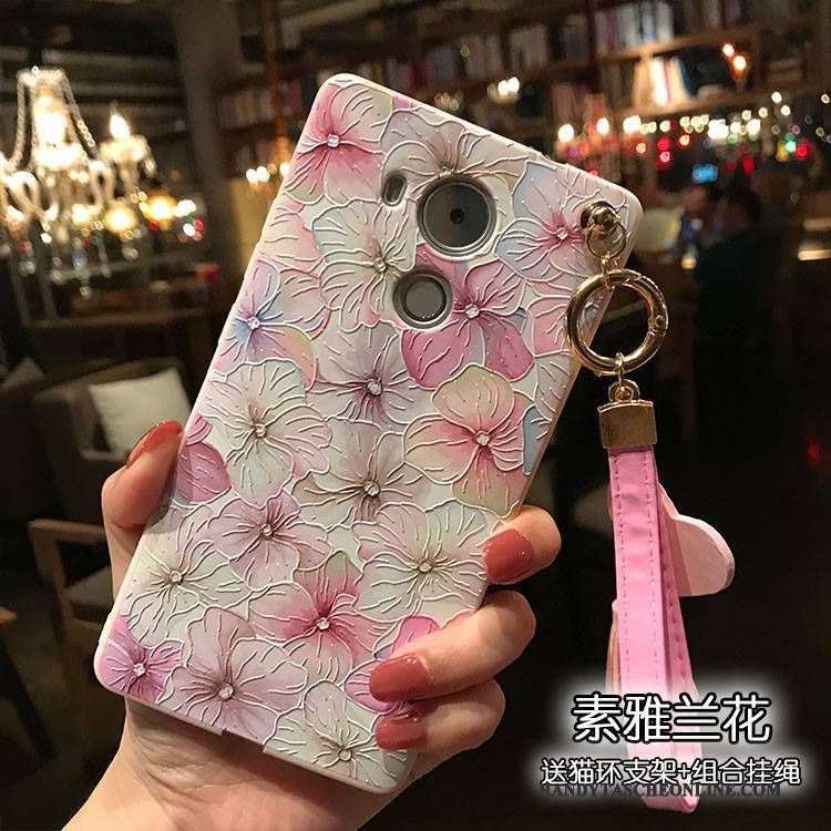 Hülle Huawei Mate 8 Prägung Rosa Pulver, Case Huawei Mate 8 Weiche Handyhüllen Hängende Verzierungen
