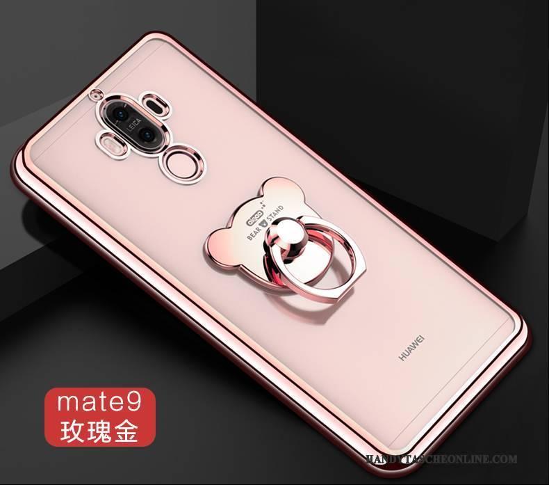 Hülle Huawei Mate 9 Halterung Handyhüllen Ring, Case Huawei Mate 9 Silikon Anti-sturz Gold