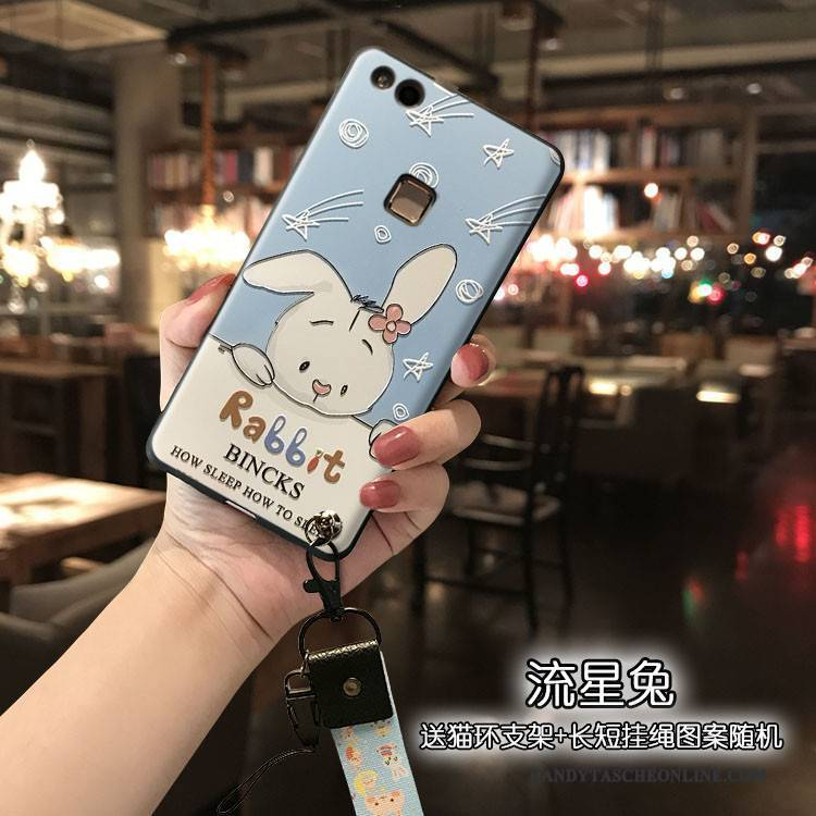 Hülle Huawei P10 Lite Silikon Blau Hängender Hals, Case Huawei P10 Lite Schutz Handyhüllen Nette