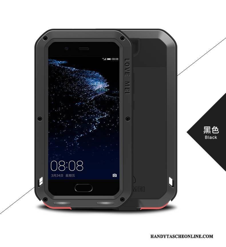 Hülle Huawei P10 Plus Silikon Drei Verteidigungen Anti-sturz, Case Huawei P10 Plus Schutz Rot Handyhüllen