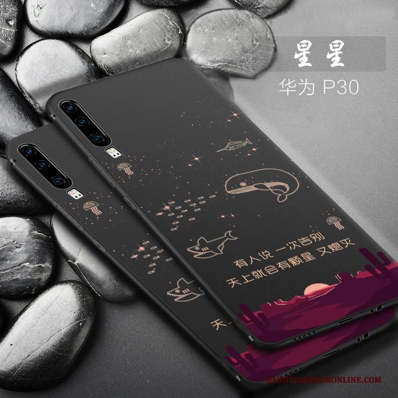 Hülle Huawei P30 Kreativ Schwarz Anti-sturz, Case Huawei P30 Silikon Mini Handyhüllen
