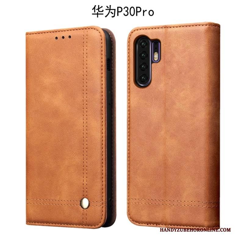 Hülle Huawei P30 Pro Weiche Handyhüllen Anti-sturz, Case Huawei P30 Pro Lederhülle Dunkel Business