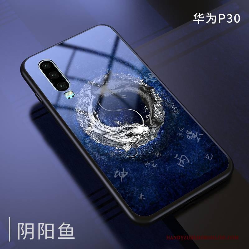 Hülle Huawei P30 Taschen Neu Trendmarke, Case Huawei P30 Kreativ Dunkelblau Chinesische Art