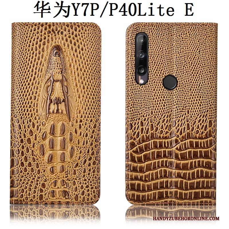 Hülle Huawei P40 Lite E Taschen Blau Krokodilmuster, Case Huawei P40 Lite E Schutz Anti-sturz Handyhüllen