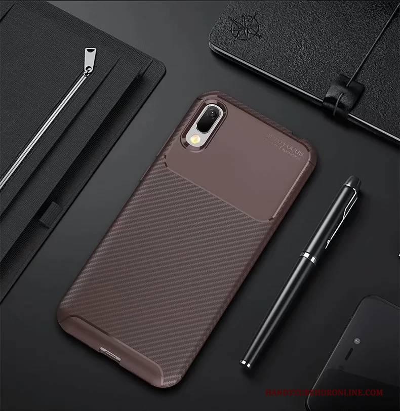 Hülle Huawei Y6 2019 Taschen Schwarz Handyhüllen, Case Huawei Y6 2019 Weiche Blau Anti-sturz