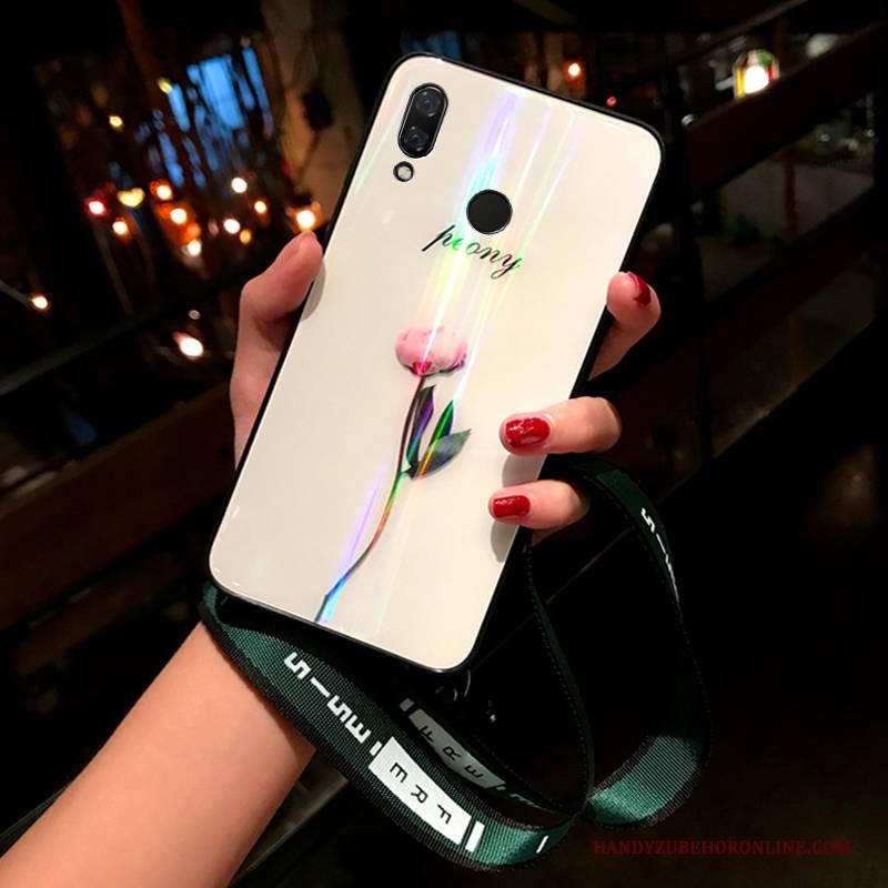Hülle Huawei Y7 2019 Kreativ Persönlichkeit Glas, Case Huawei Y7 2019 Netto Rot Handyhüllen