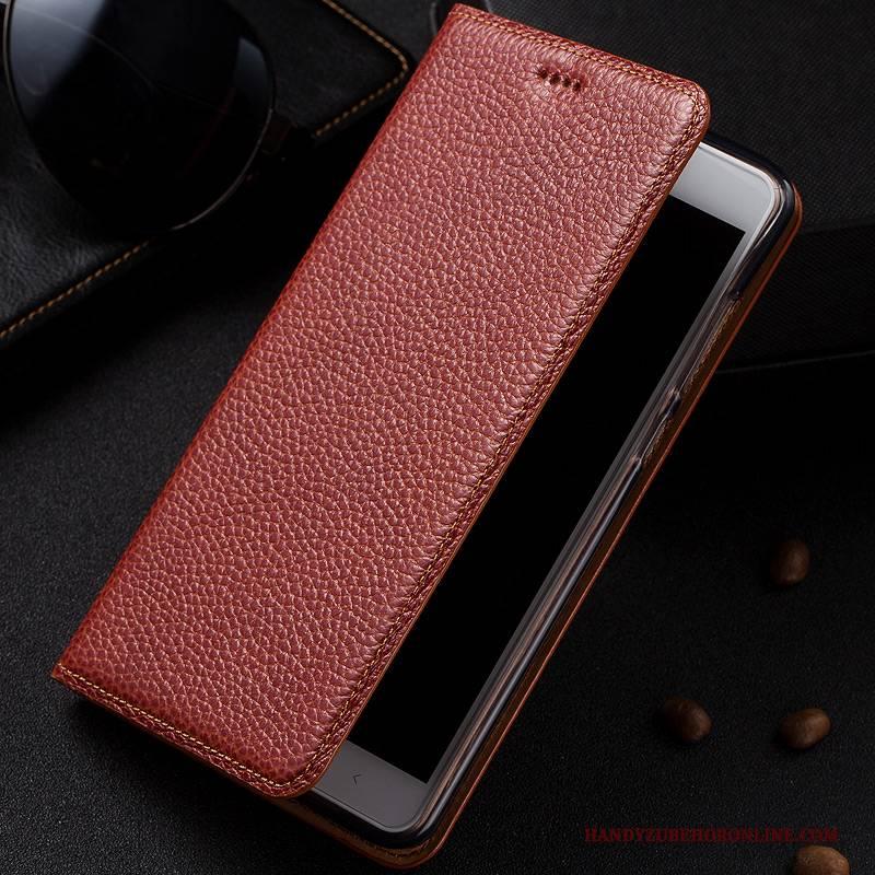 Hülle Nokia 5.1 Plus Leder Blau Litchi, Case Nokia 5.1 Plus Lederhülle Handyhüllen