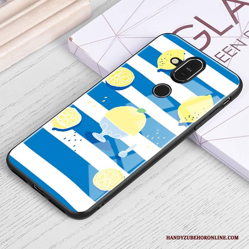 Hülle Nokia 8.1 Kreativ Glas Blau, Case Nokia 8.1 Schutz Handyhüllen Frisch