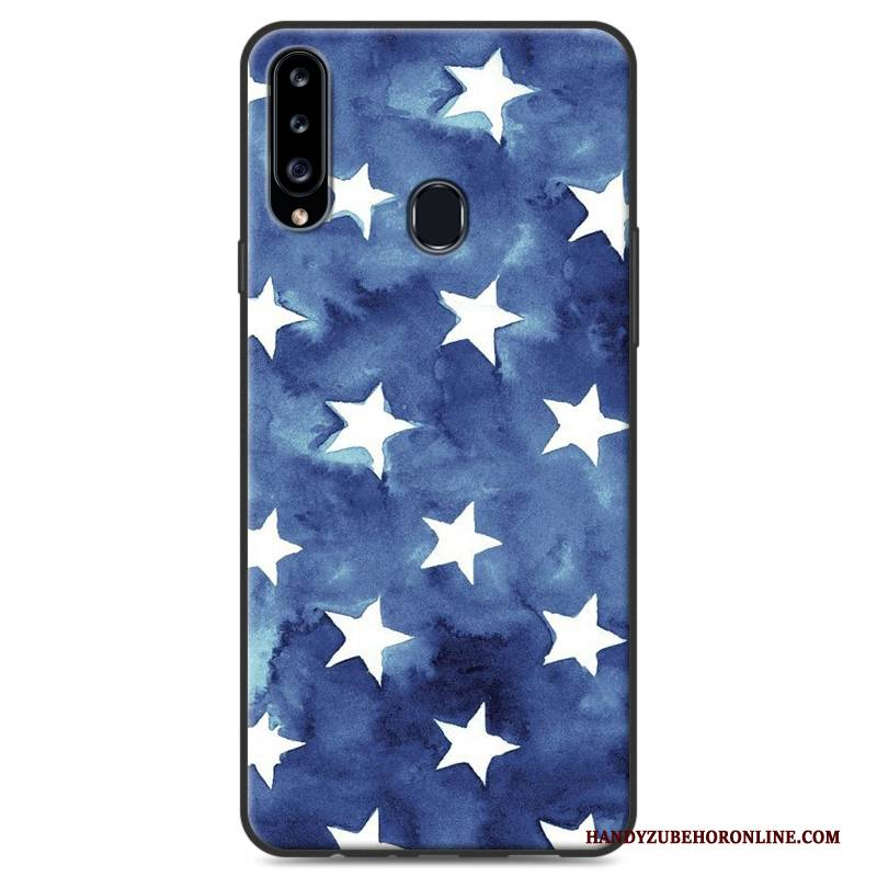 Hülle Samsung Galaxy A20s Gemalt Einfach Blau, Case Samsung Galaxy A20s Schutz Handyhüllen Landschaft