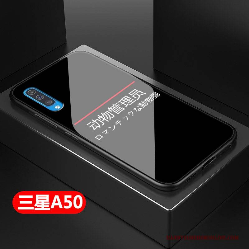 Hülle Samsung Galaxy A50 Taschen Schwarz Glas, Case Samsung Galaxy A50 Schwer Handyhüllen
