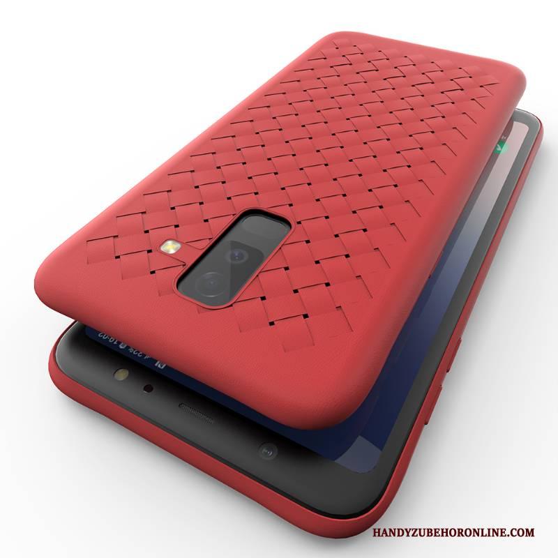 Hülle Samsung Galaxy A6+ Schutz Anti-sturz Flecht, Case Samsung Galaxy A6+ Silikon Handyhüllen Persönlichkeit