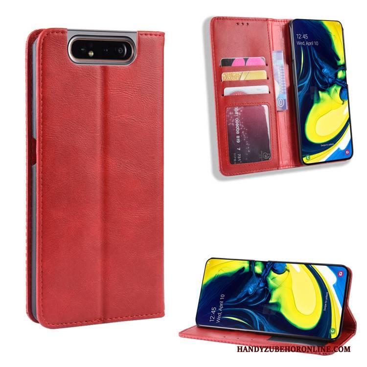 Hülle Samsung Galaxy A80 Lederhülle Magnetschließe Rot, Case Samsung Galaxy A80 Geldbörse