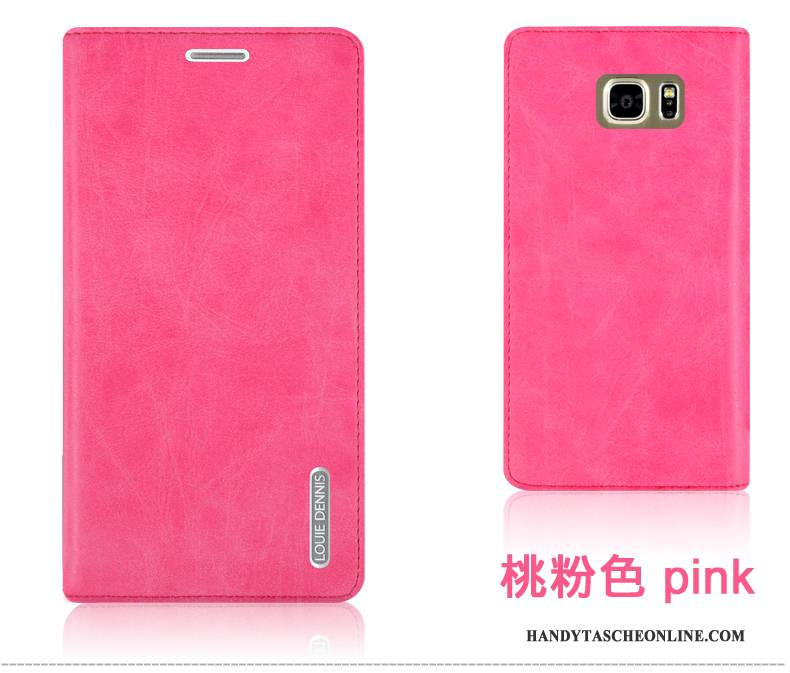 Hülle Samsung Galaxy Note 5 Lederhülle Haltbar Lila, Case Samsung Galaxy Note 5 Schutz Handyhüllen