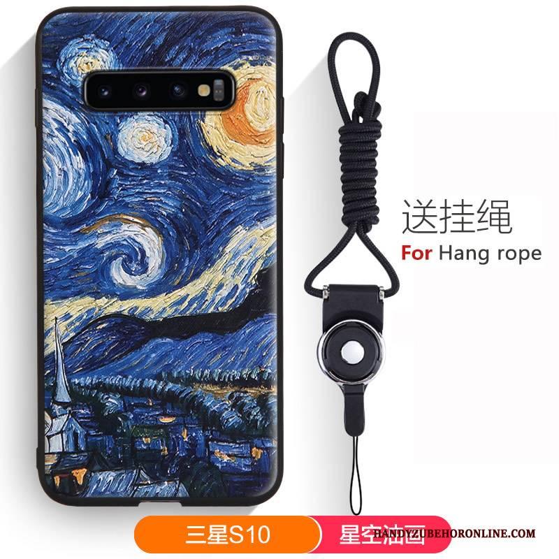 Hülle Samsung Galaxy S10 Karikatur Handyhüllen Hängende Verzierungen, Case Samsung Galaxy S10 Weiche Nette Grün