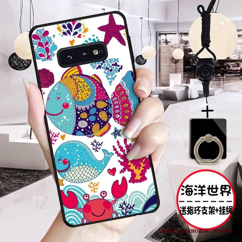 Hülle Samsung Galaxy S10e Silikon Handyhüllen Anti-sturz, Case Samsung Galaxy S10e Karikatur Rosa Nette