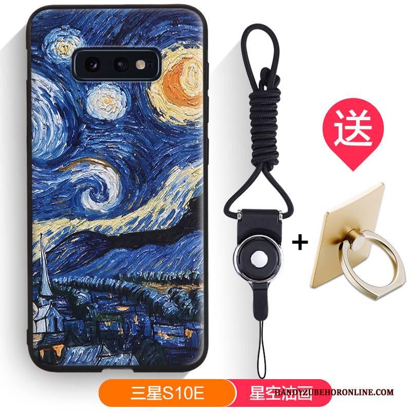 Hülle Samsung Galaxy S10e Silikon Schwarz Nubuck, Case Samsung Galaxy S10e Karikatur Trendmarke Handyhüllen