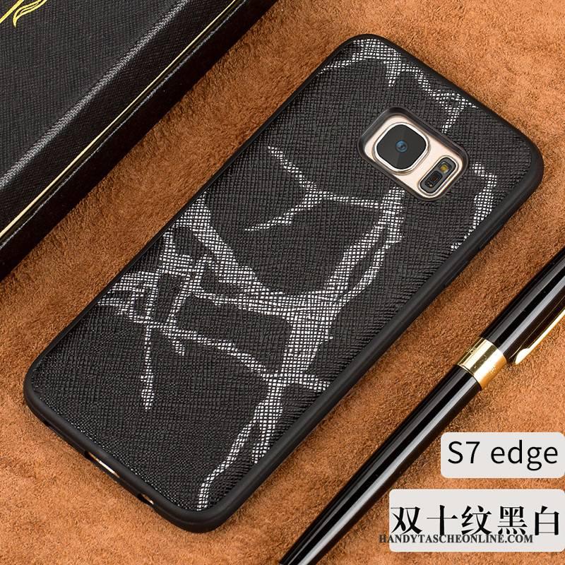 Hülle Samsung Galaxy S7 Edge Luxus Elegant Dünne, Case Samsung Galaxy S7 Edge Weiche Schwarz Europa