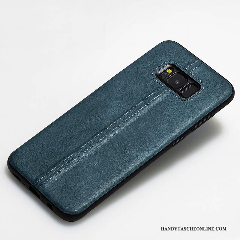 Hülle Samsung Galaxy S8 Schutz Anti-sturz Pfau, Case Samsung Galaxy S8 Lederhülle Handyhüllen Blau