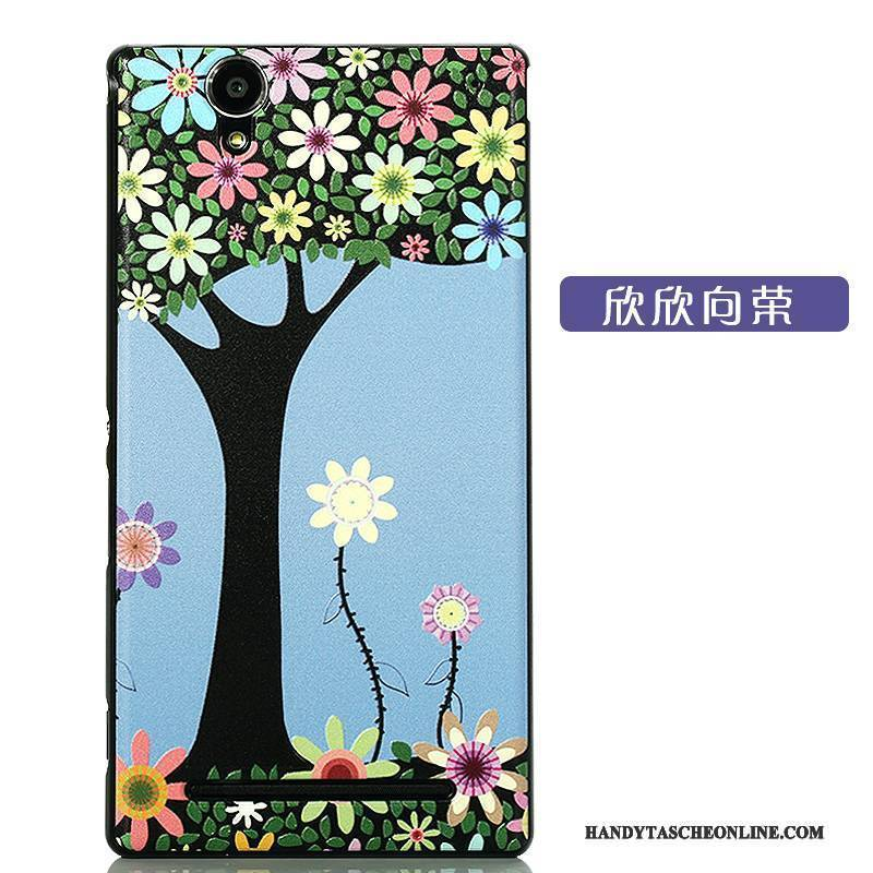Hülle Sony Xperia T2 Karikatur Neu Nubuck, Case Sony Xperia T2 Schutz Handyhüllen Schwarz