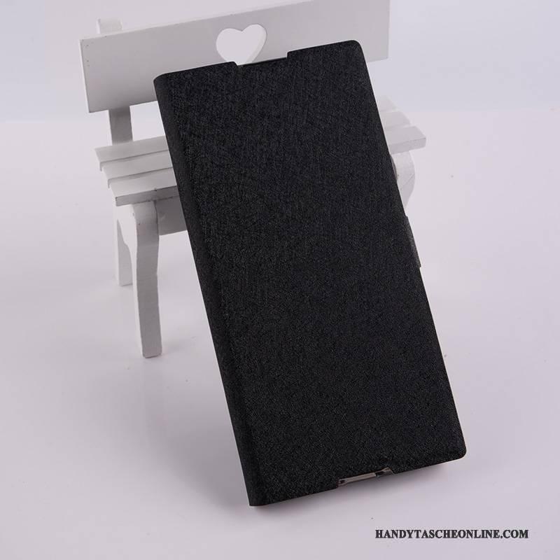 Hülle Sony Xperia Xa1 Ultra Lederhülle Schwarz Handyhüllen, Case Sony Xperia Xa1 Ultra