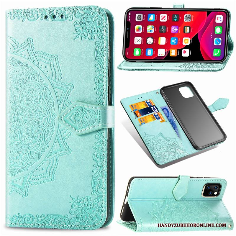 Hülle iPhone 11 Pro Leder Schwarz Handyhüllen, Case iPhone 11 Pro Lederhülle Einfarbig Prägung