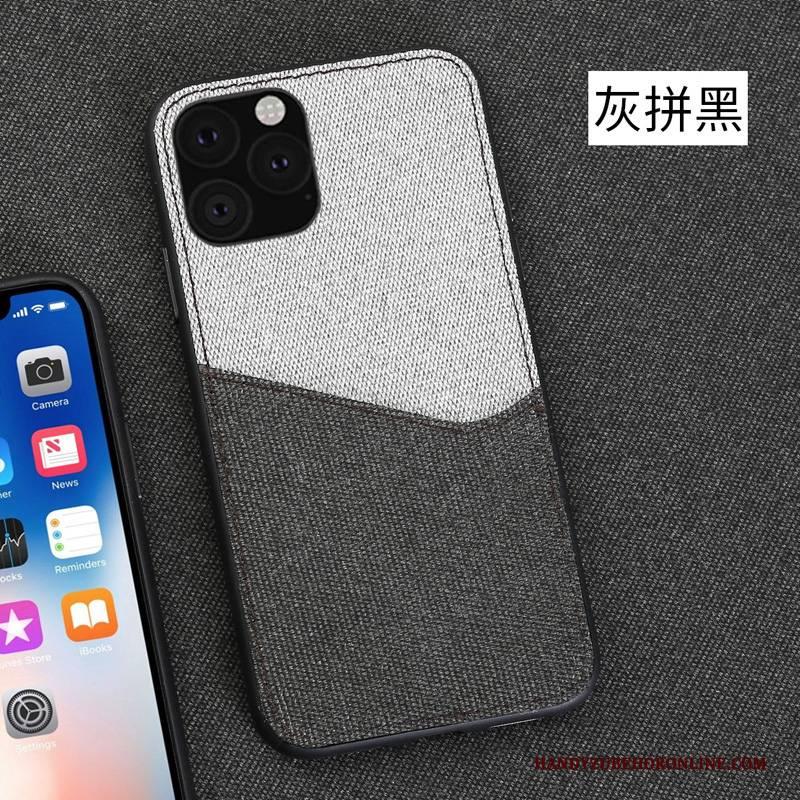 Hülle iPhone 11 Pro Rot Stoff, Case iPhone 11 Pro Leinwand Business