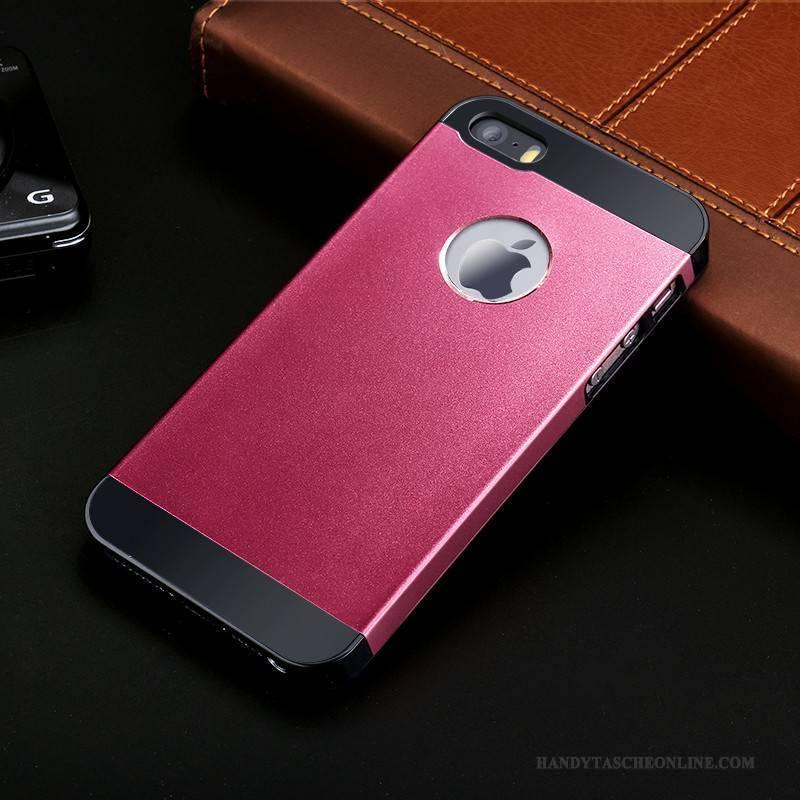 Hülle iPhone 5/5s Taschen Rosa Handyhüllen, Case iPhone 5/5s Metall Hintere Abdeckung