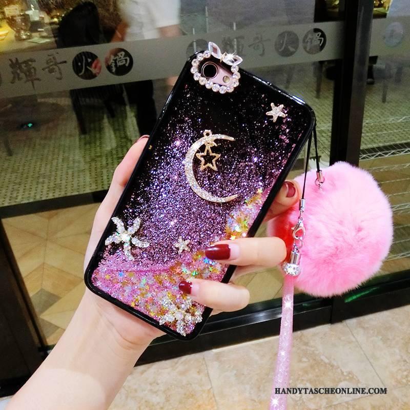 Hülle iPhone 7 Plus Strass Kaninchen Pelzball, Case iPhone 7 Plus Rosa Glänzend