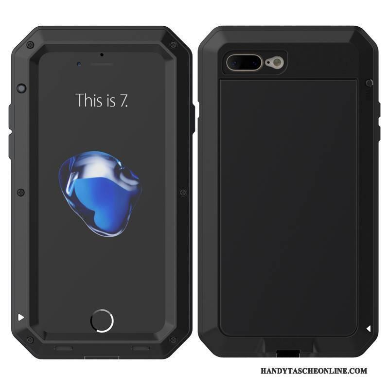 Hülle iPhone 8 Plus Metall Handyhüllen Anti-sturz, Case iPhone 8 Plus Schutz Drei Verteidigungen Grenze