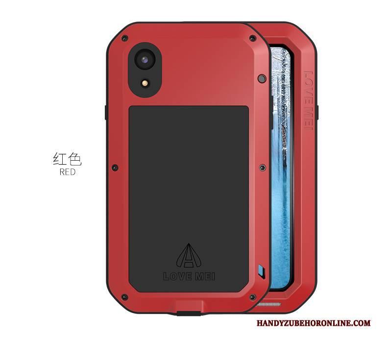 Hülle iPhone Xr Taschen Anti-sturz Handyhüllen, Case iPhone Xr Metall Grenze Drei Verteidigungen