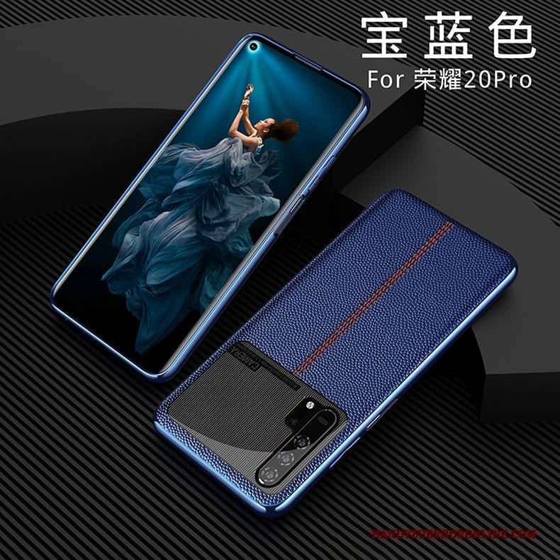 Hülle Honor 20 Pro Silikon High-end Anti-sturz, Case Honor 20 Pro Lederhülle Blau Kuh