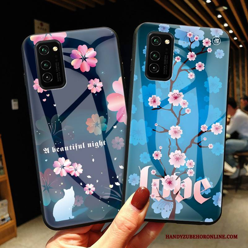 Hülle Honor View30 Pro Schutz Handyhüllen Glas, Case Honor View30 Pro Blau Sakura