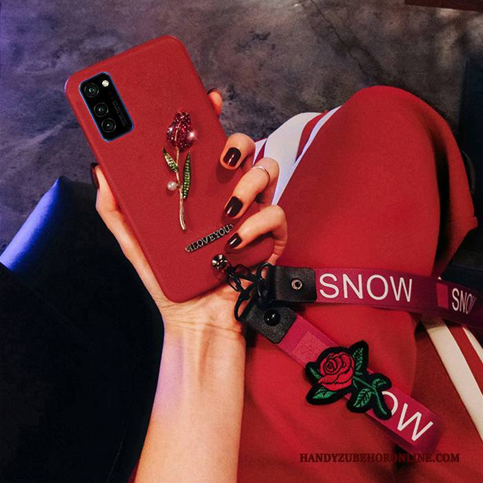 Hülle Honor View30 Pro Silikon Rot Blumen, Case Honor View30 Pro Schutz Trend Rose