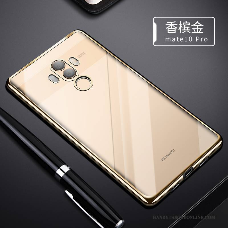 Hülle Huawei Mate 10 Pro Silikon Gold Transparent, Case Huawei Mate 10 Pro Weiche Trend Handyhüllen