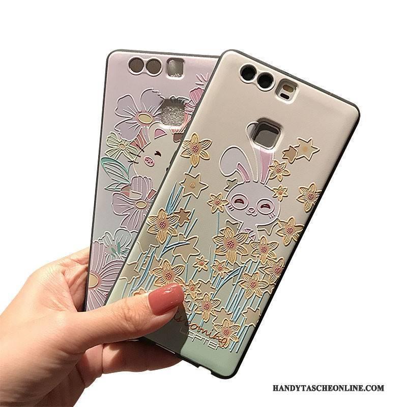 Hülle Huawei P9 Plus Taschen Schwarz Handyhüllen, Case Huawei P9 Plus Prägung Nubuck