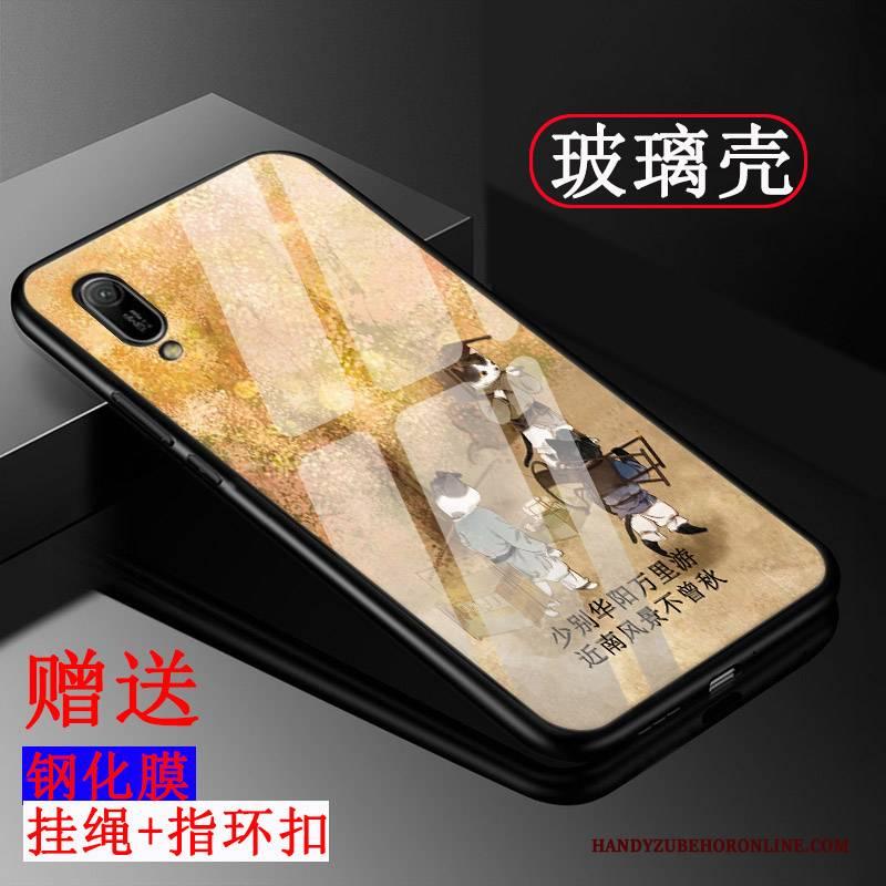 Hülle Huawei Y6 2019 Silikon Glas Handyhüllen, Case Huawei Y6 2019 Taschen Gelb Trend