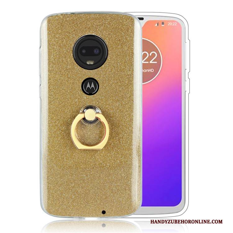 Hülle Moto G7 Plus Schutz Ring Gold, Case Moto G7 Plus Business Handyhüllen
