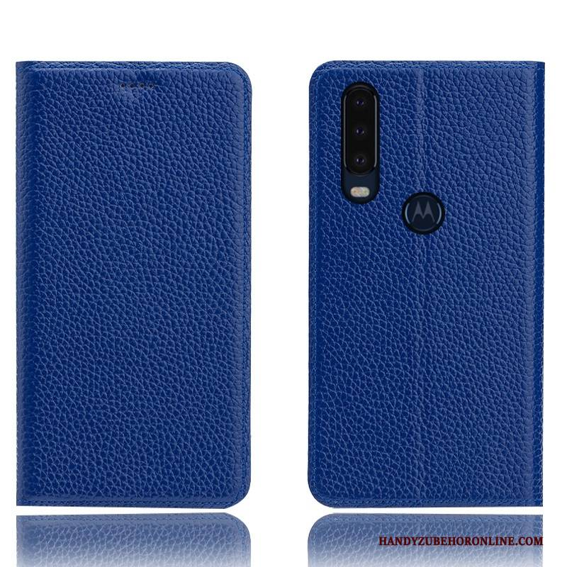 Hülle Motorola One Action Folio Muster Litchi, Case Motorola One Action Leder Anti-sturz Blau