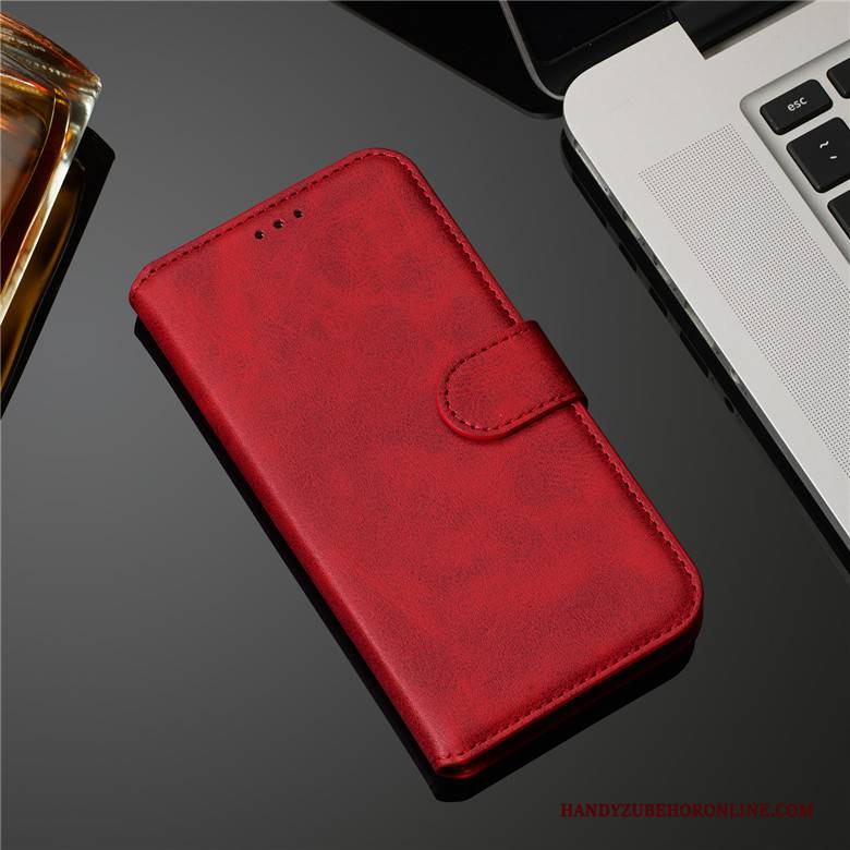 Hülle Samsung Galaxy A30s Leder Rot Muster, Case Samsung Galaxy A30s Schutz Kuh Handyhüllen