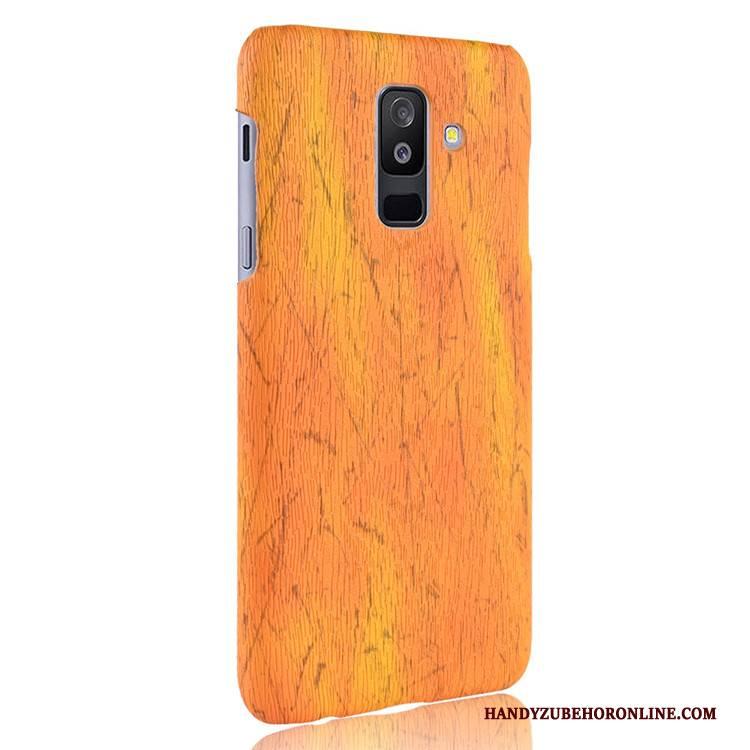 Hülle Samsung Galaxy A6+ Schutz Gelb Qualität, Case Samsung Galaxy A6+ Leder Schwer Handyhüllen