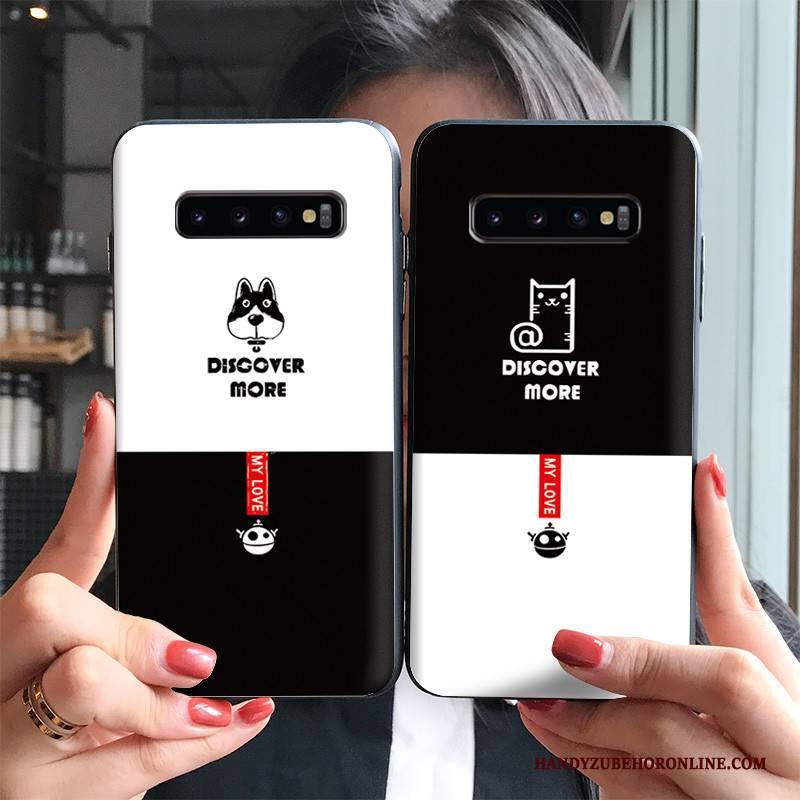 Hülle Samsung Galaxy S10+ Karikatur Trendmarke Nubuck, Case Samsung Galaxy S10+ Schutz Hund Schwarz