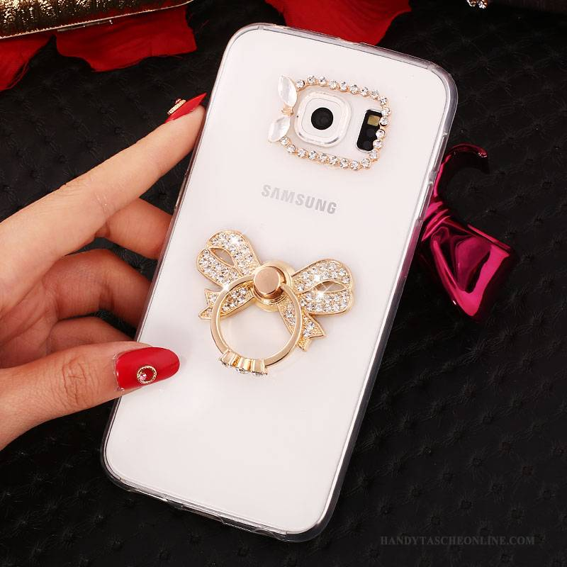 Hülle Samsung Galaxy S6 Edge + Halterung Gold Ring, Case Samsung Galaxy S6 Edge + Strass