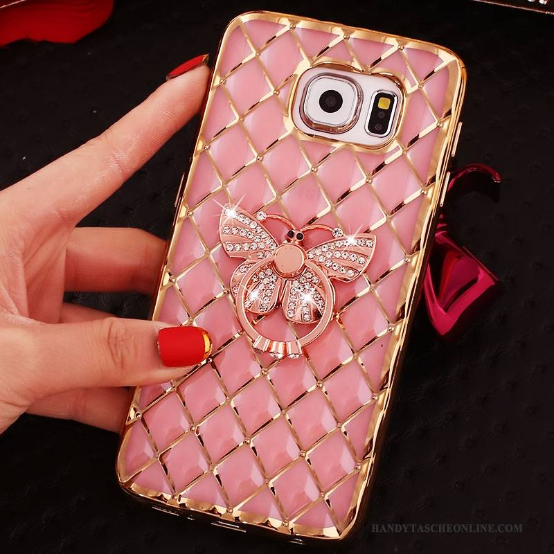Hülle Samsung Galaxy S6 Edge + Schutz Rosa Ring, Case Samsung Galaxy S6 Edge + Strass