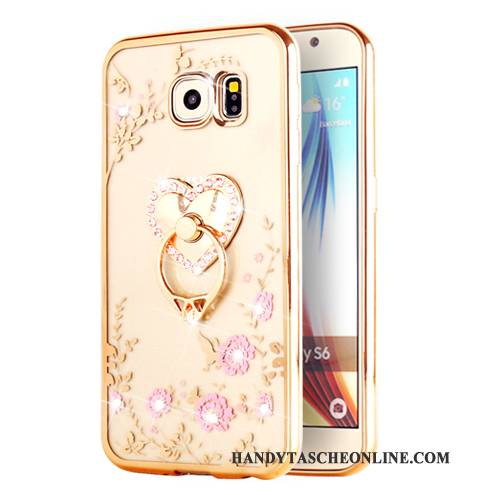 Hülle Samsung Galaxy S6 Edge + Weiche Gold Transparent, Case Samsung Galaxy S6 Edge + Schutz