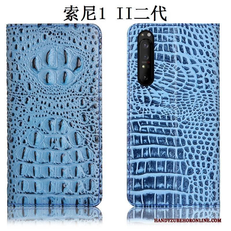 Hülle Sony Xperia 1 Ii Leder Anti-sturz Handyhüllen, Case Sony Xperia 1 Ii Folio Blau