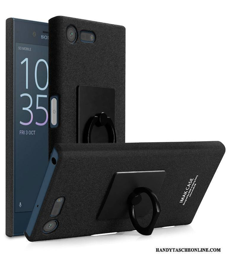 Hülle Sony Xperia X Compact Halterung Handyhüllen Ring, Case Sony Xperia X Compact Schutz Schwarz Nubuck