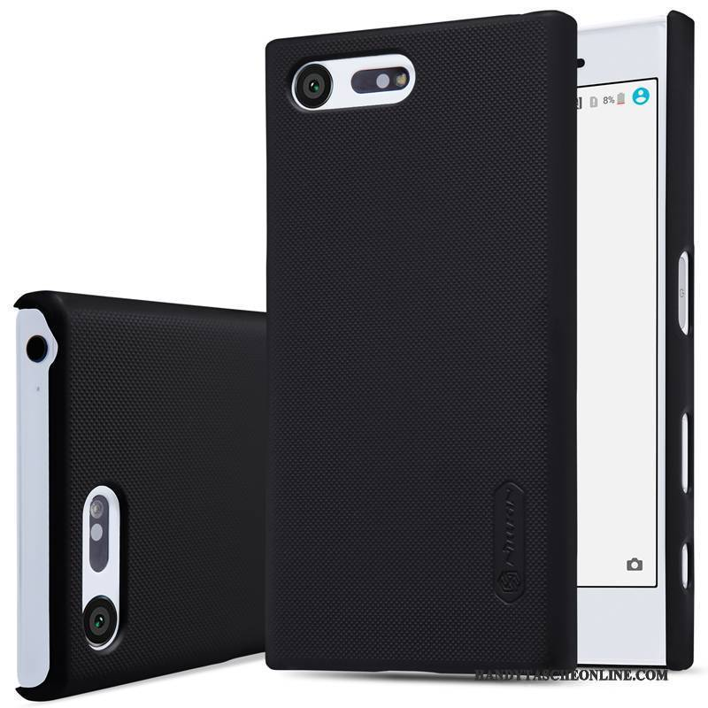 Hülle Sony Xperia X Compact Schwer Nubuck, Case Sony Xperia X Compact Gold Schwarz