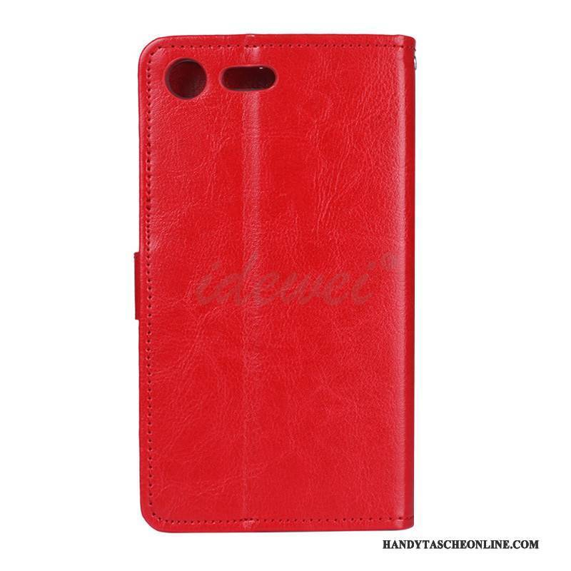 Hülle Sony Xperia Xz1 Compact Folio Rot Handyhüllen, Case Sony Xperia Xz1 Compact Lederhülle