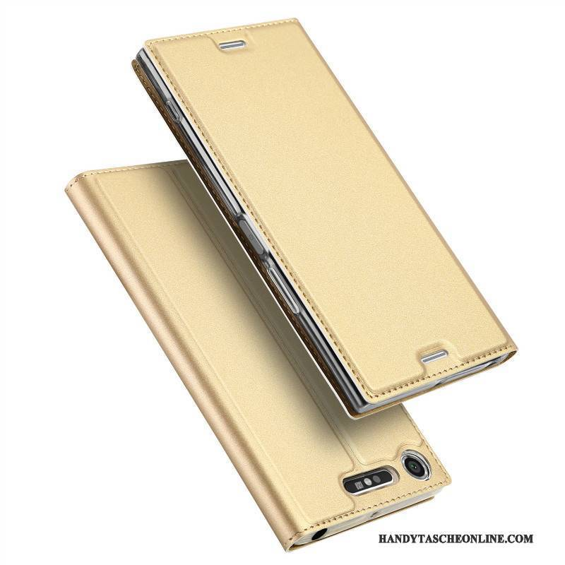 Hülle Sony Xperia Xz1 Compact Halterung Anti-sturz Gold, Case Sony Xperia Xz1 Compact Folio Business