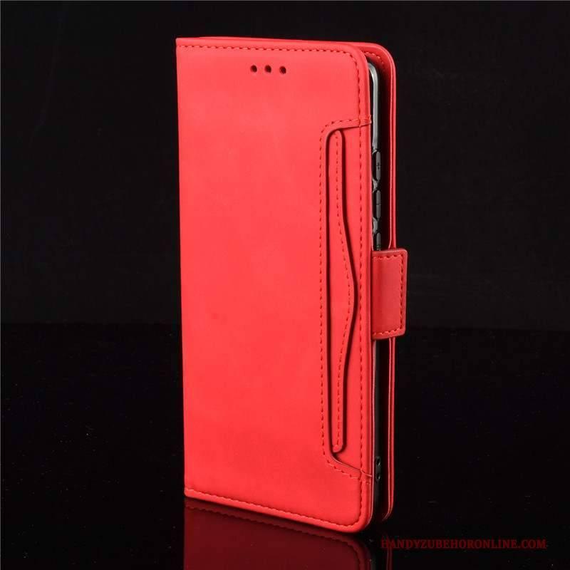 Hülle Xiaomi Mi 10 Pro Lederhülle Handyhüllen Mini, Case Xiaomi Mi 10 Pro Schutz Rot Karte